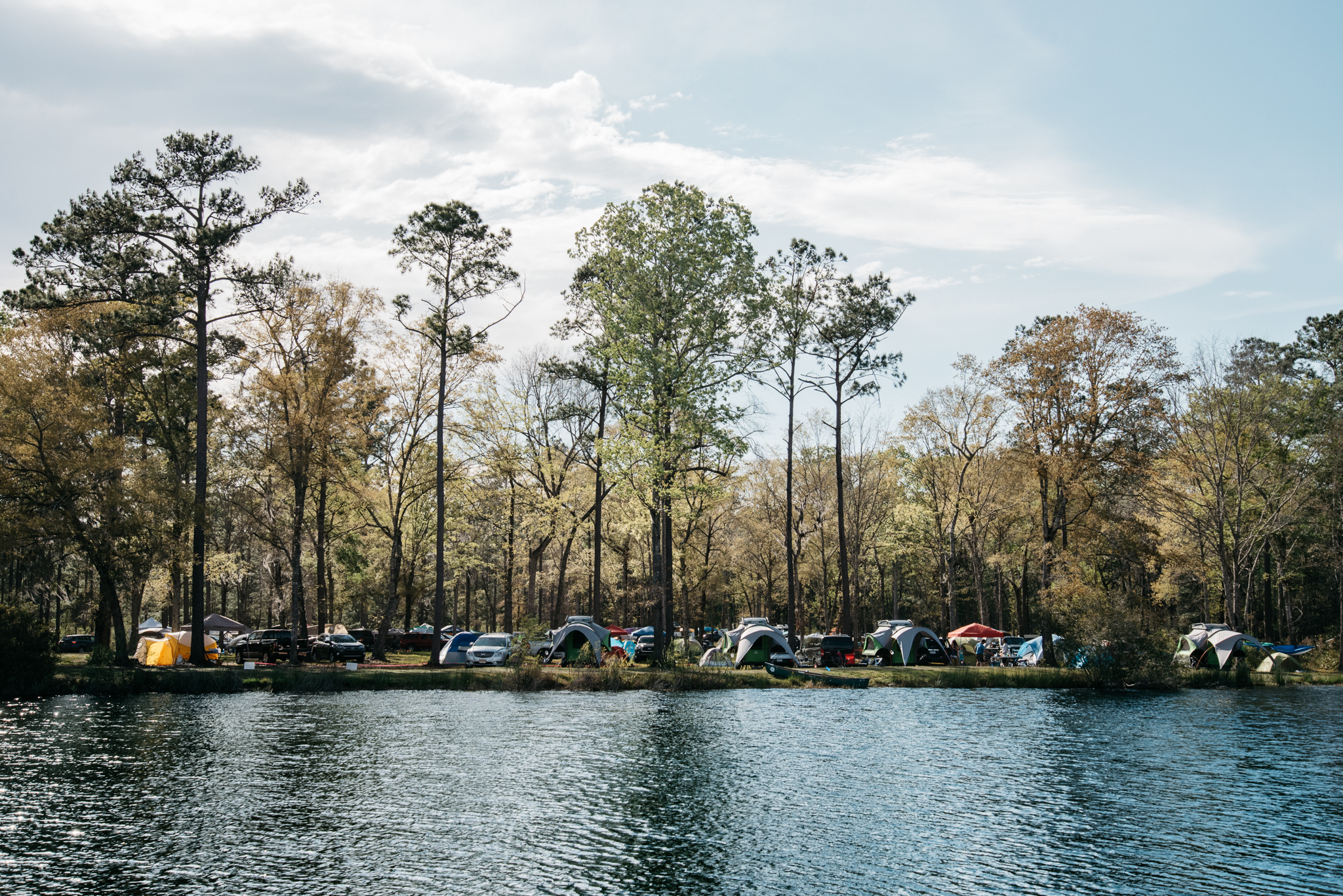 Group Camping on Palmetto Lake Edge