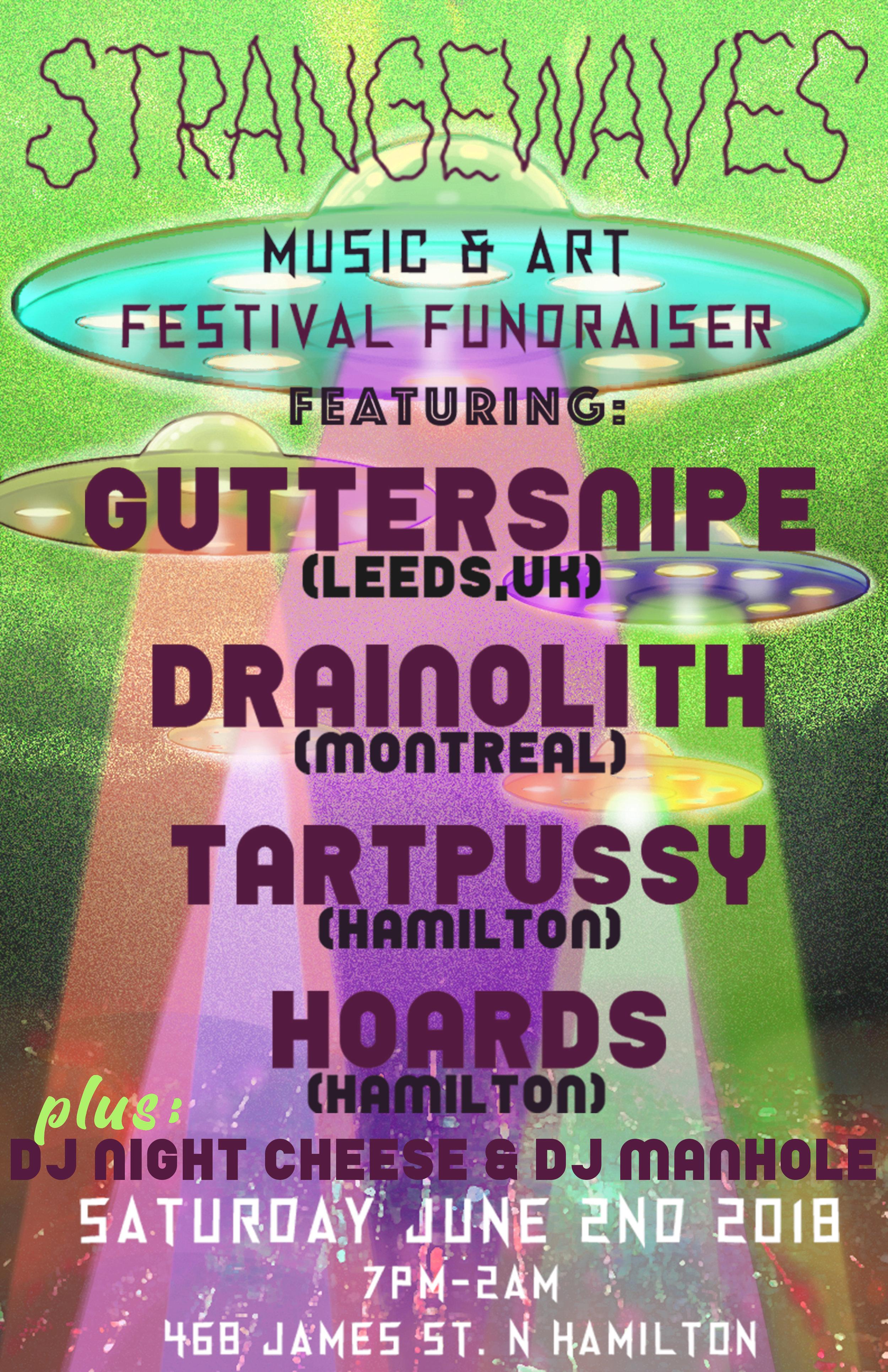 Strangewaves Fundraiser: Guttersnipe/Drainolith/Tartpussy/Hoards  @Home:Front