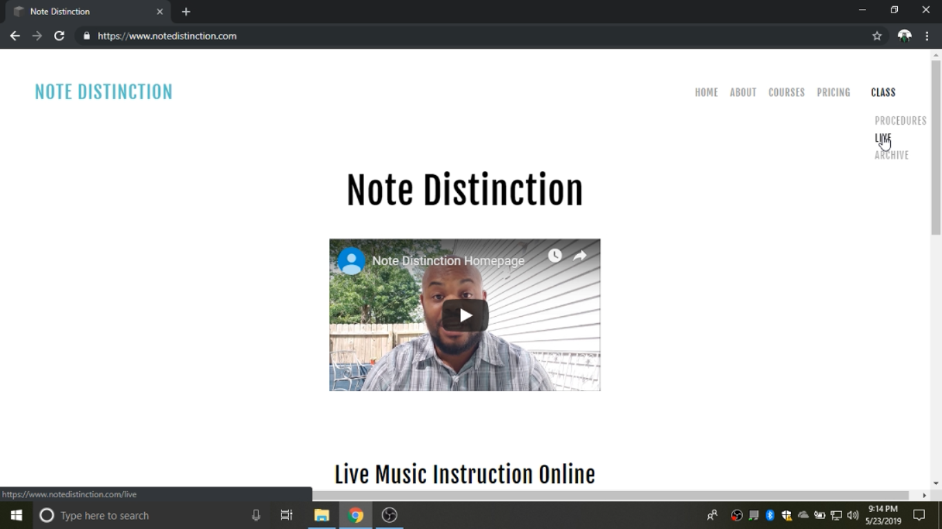 """Step 1  First, you'll need to come to www.notedistinction.com and navigate to the """"Class"""" subpage, """"Q/A Sessions."""" (Select """"Archive"""" for past videos)"""