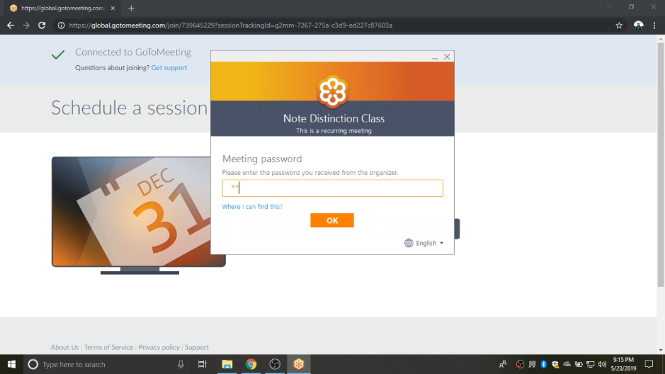 """Step 4  Join the class session on GoToMeeting by using the current """"live"""" password as provided in your class email."""