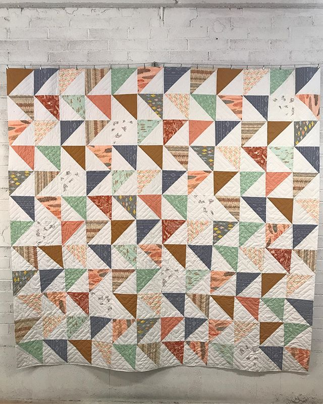 latest finish...a cute adventure themed quilt for @plumlovelie. thank you, amber, for bringing it by!