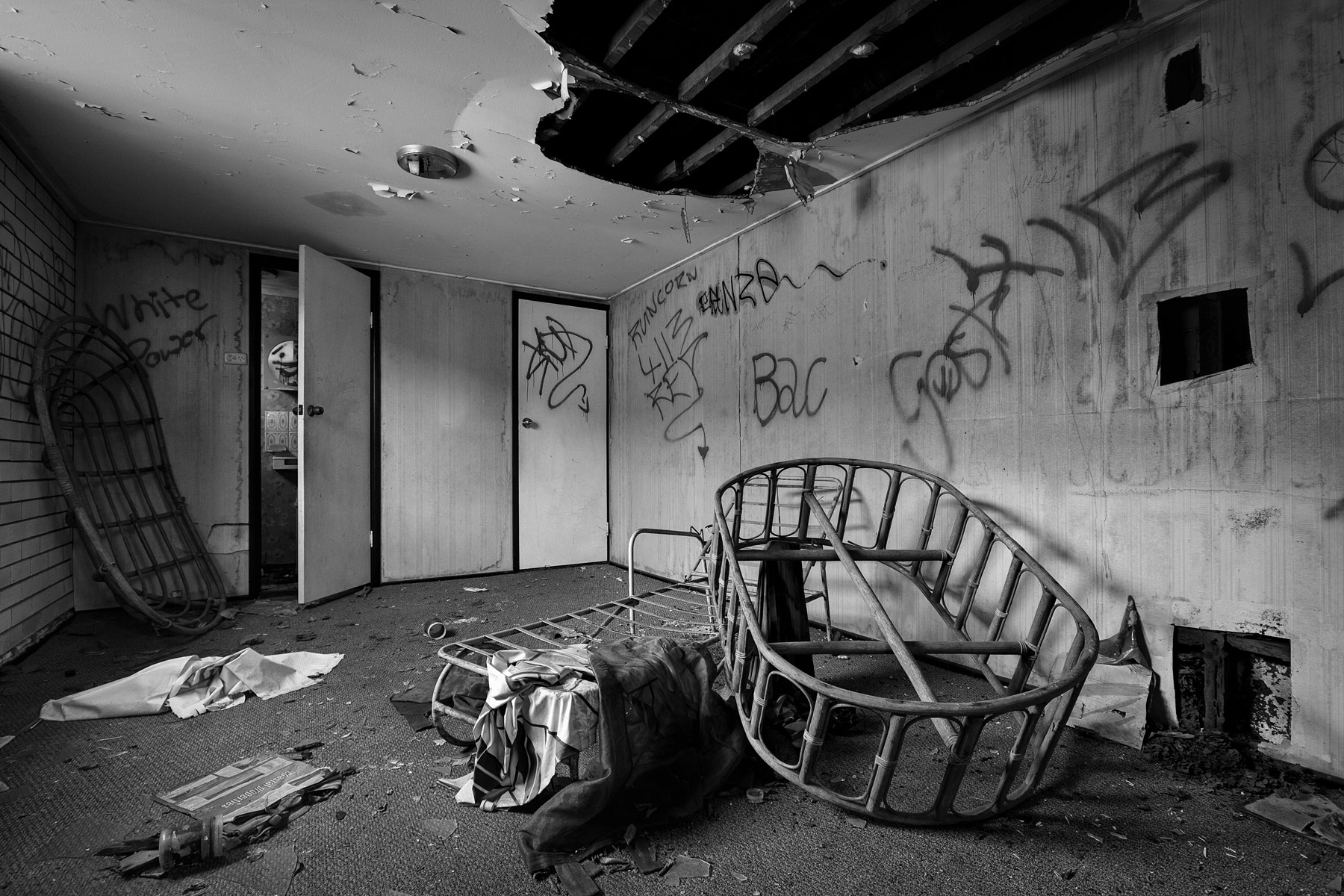 A room in an abandoned house destroyed by fire