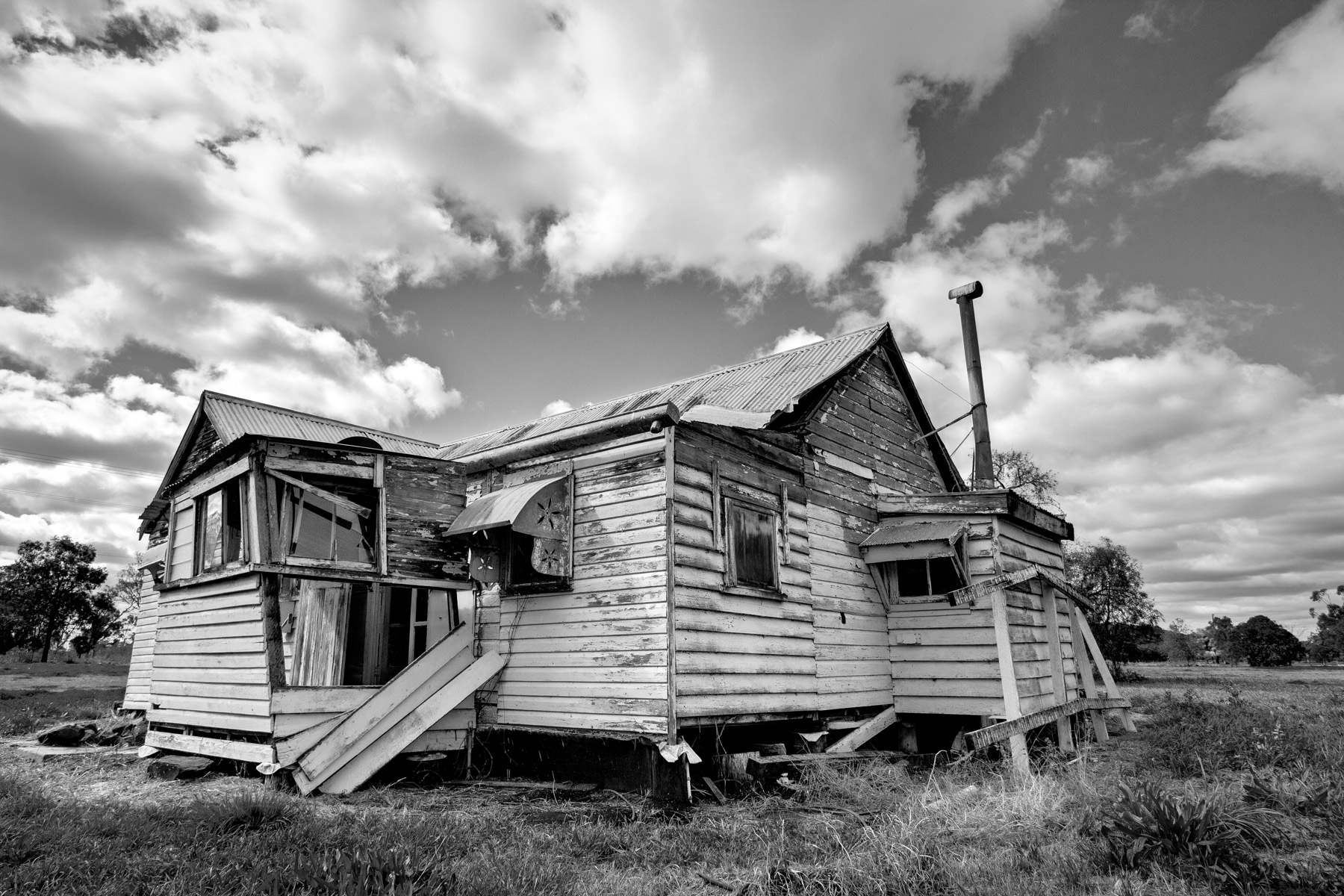 The exterior of an old abandoned house in Acland, Australia