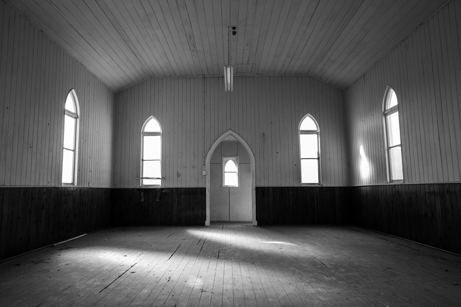 Inside an abandoned church in Acland