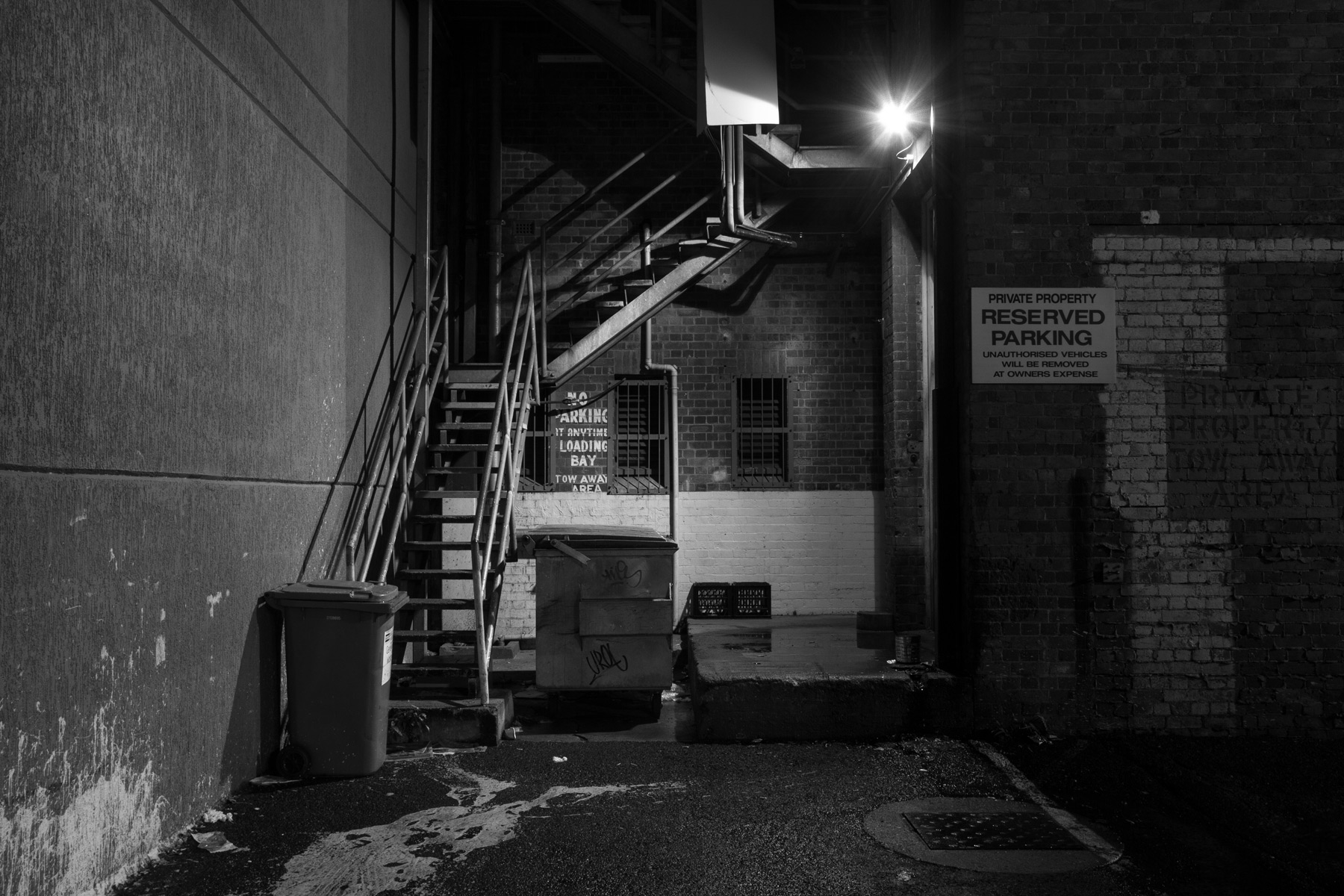 An alley at night in the Brisbane CBD