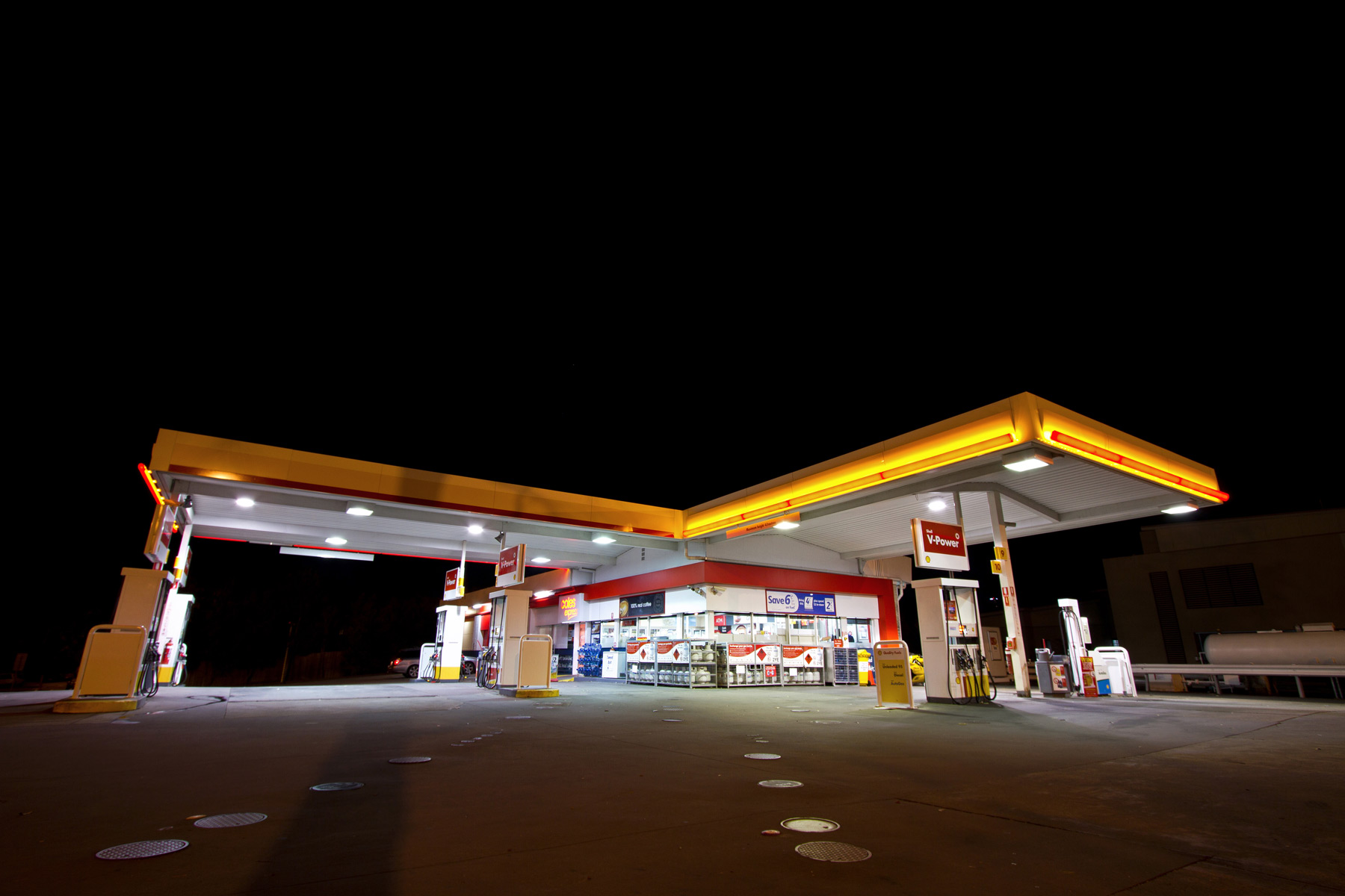 A service station at night in Bulimba, Brisbane
