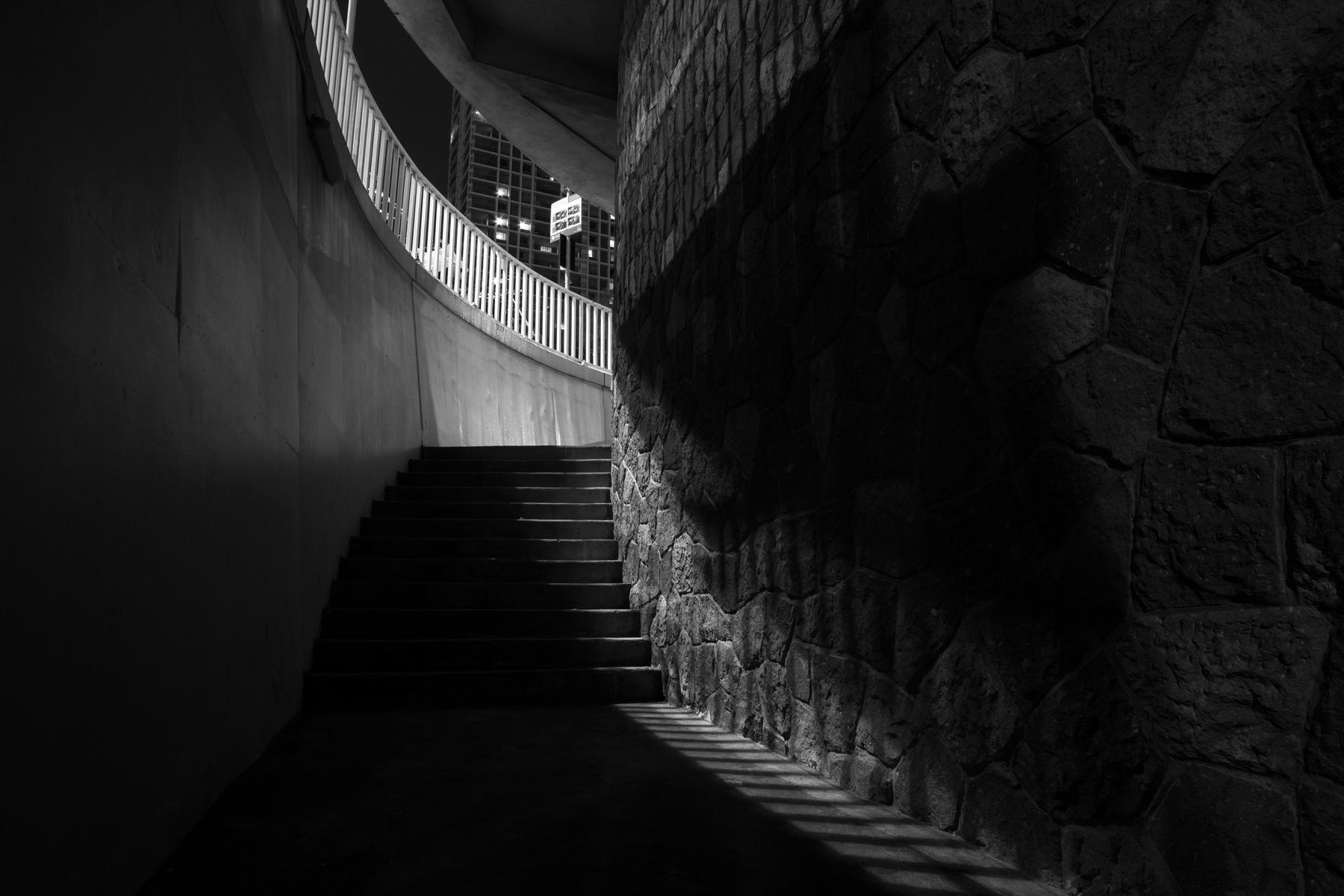 Stairs in the Brisbane CBD at night