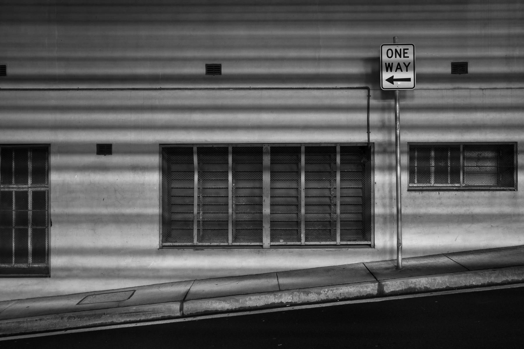 Shadows against a wall in the Brisbane CBD at night
