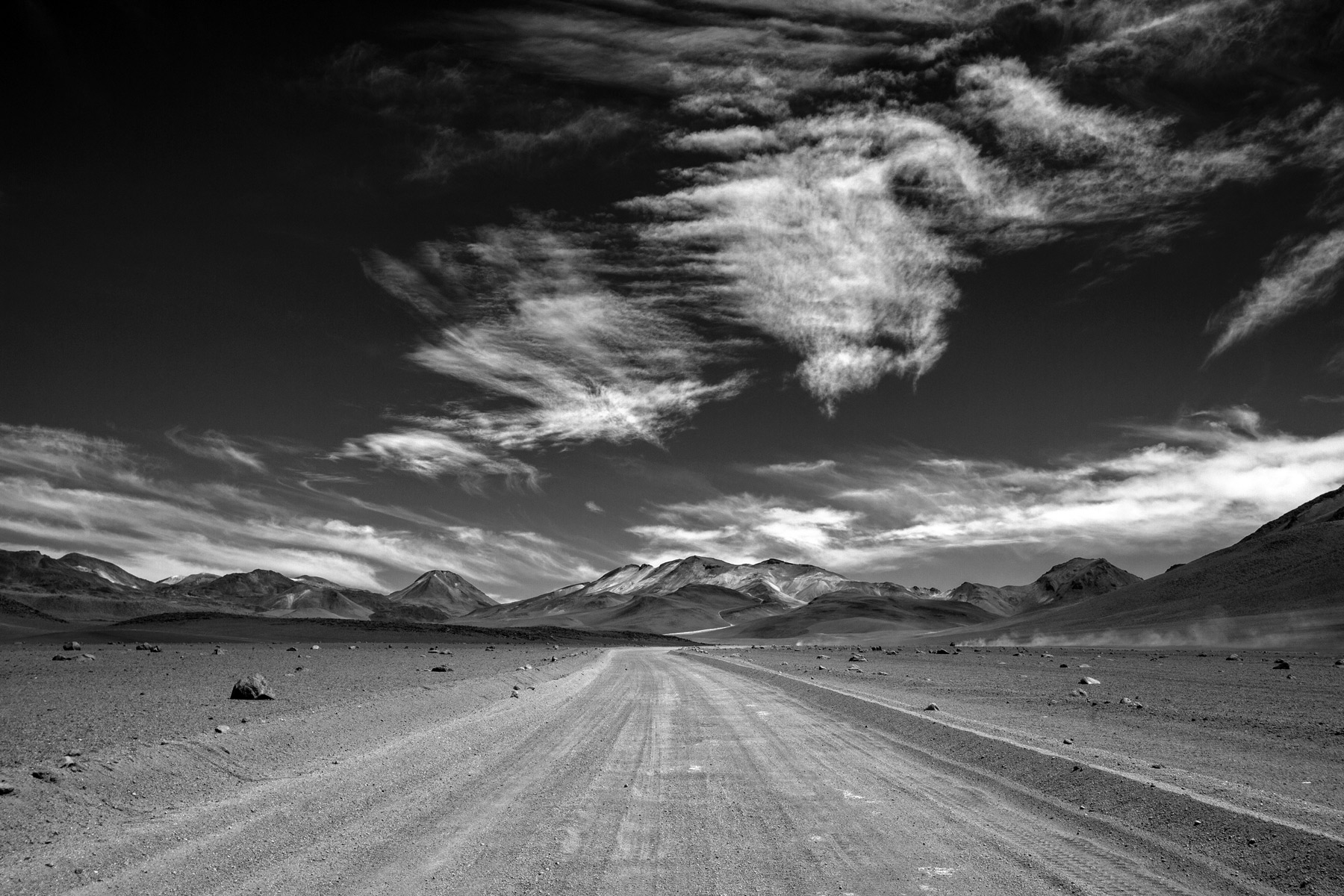 A dirt road in the Eduardo Avaroa Andean Fauna National Reserve
