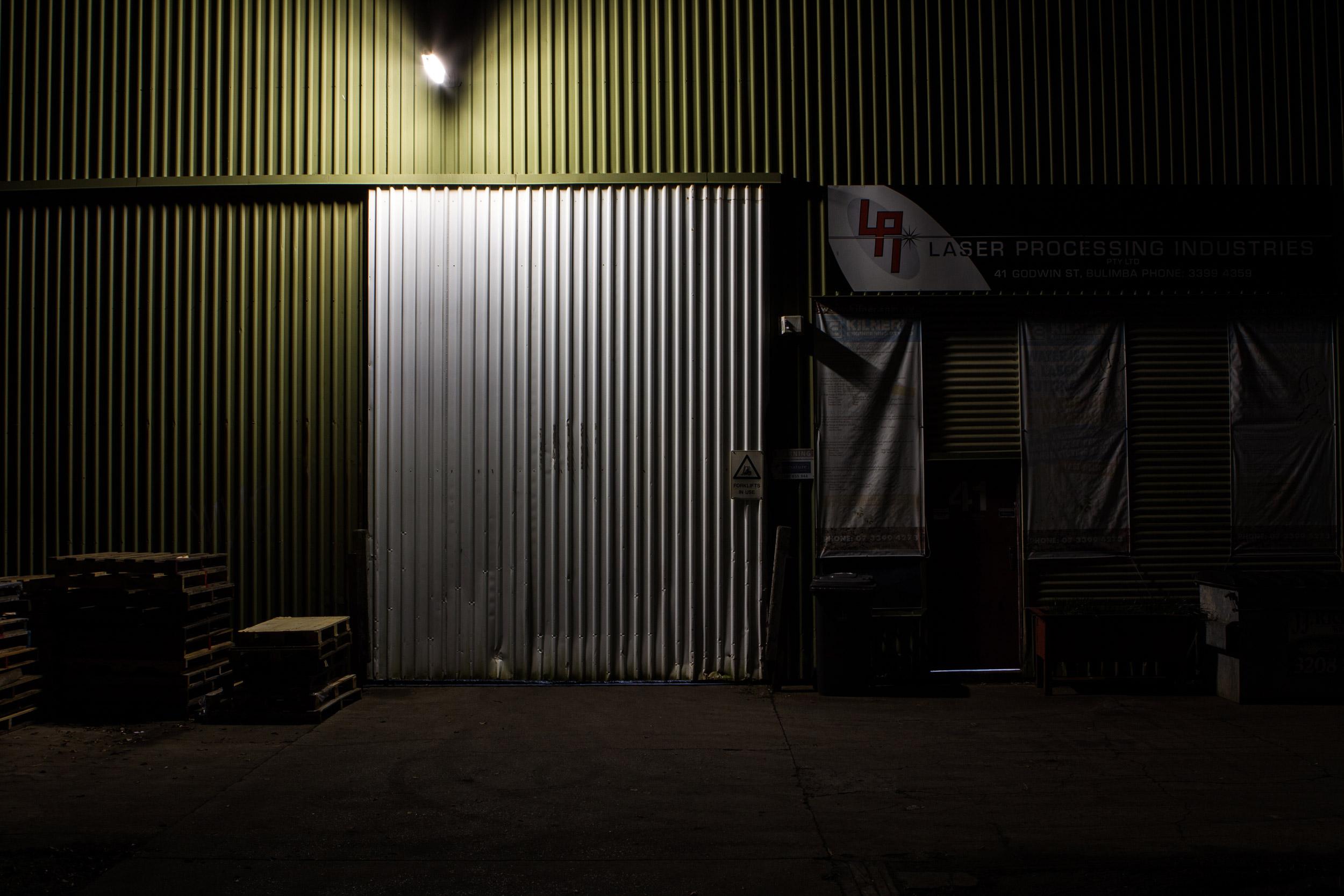 A warehouse at night in Bulimba, Brisbane