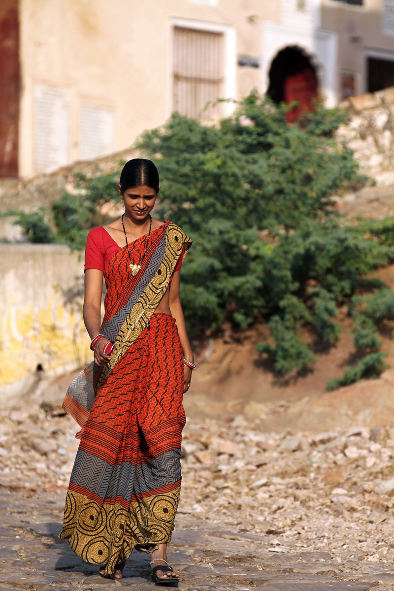A woman walking in Jaipur, India