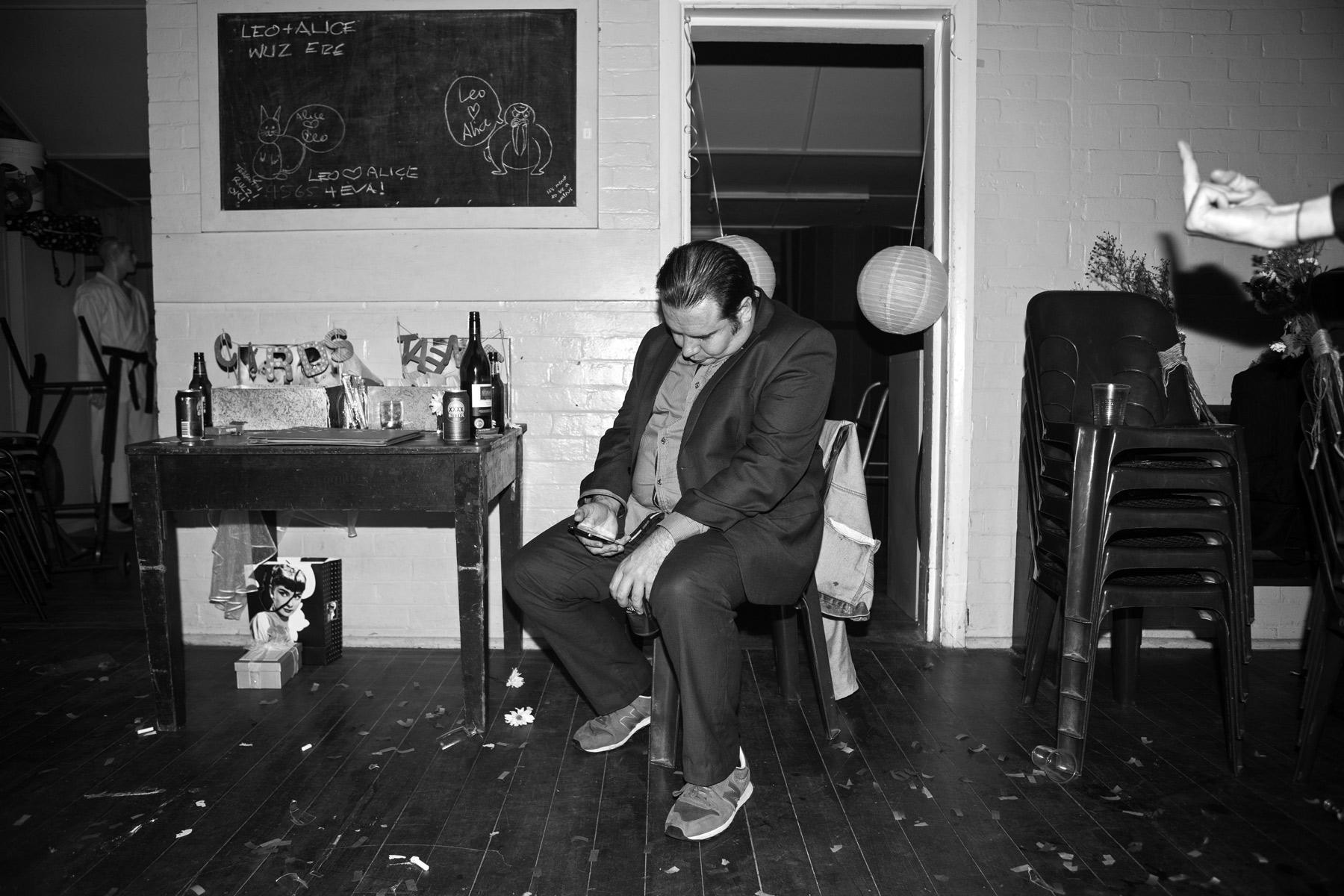 A man asleep in a chair