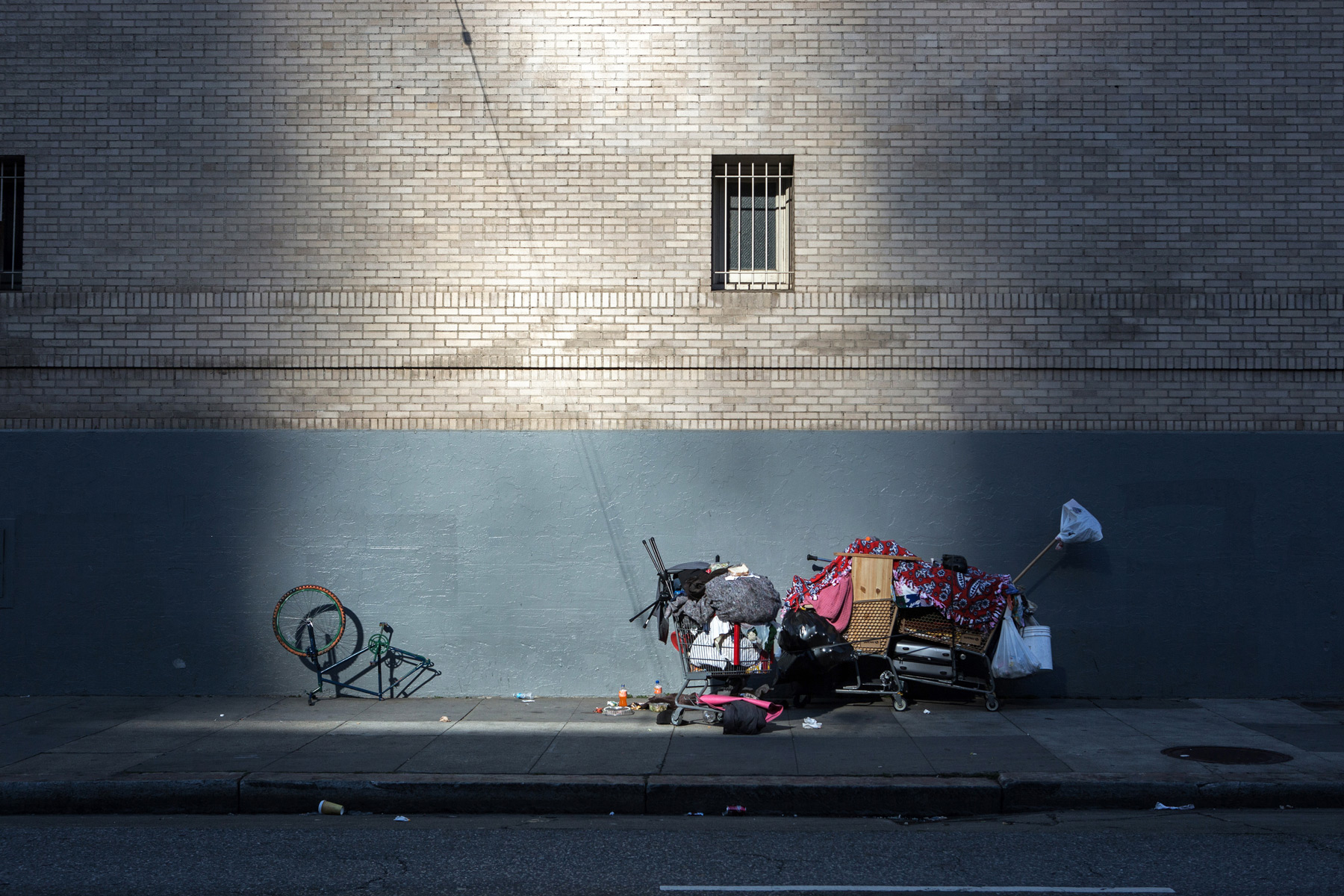 A person's belongings on the sidewalk, San Francisco
