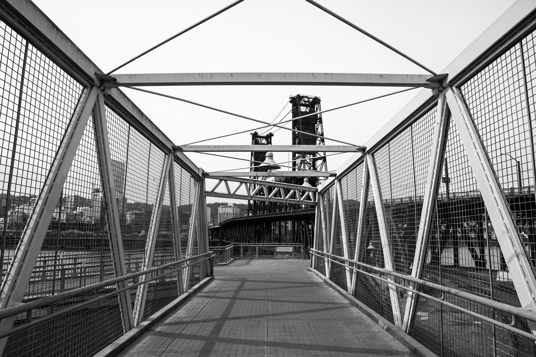 The Rose Quarter Pedestrian Bridge in Portland, Oregon