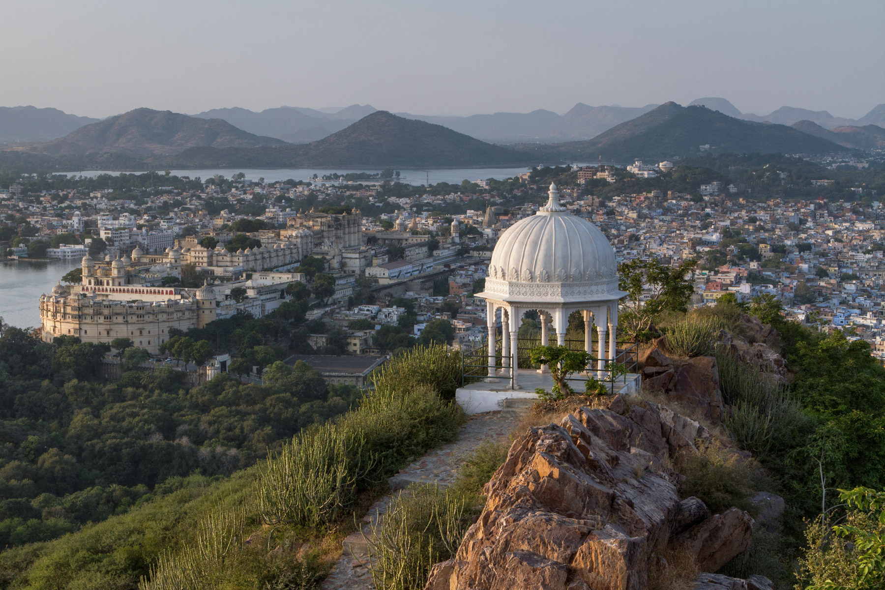 The view of Udaipur from Karni Mata