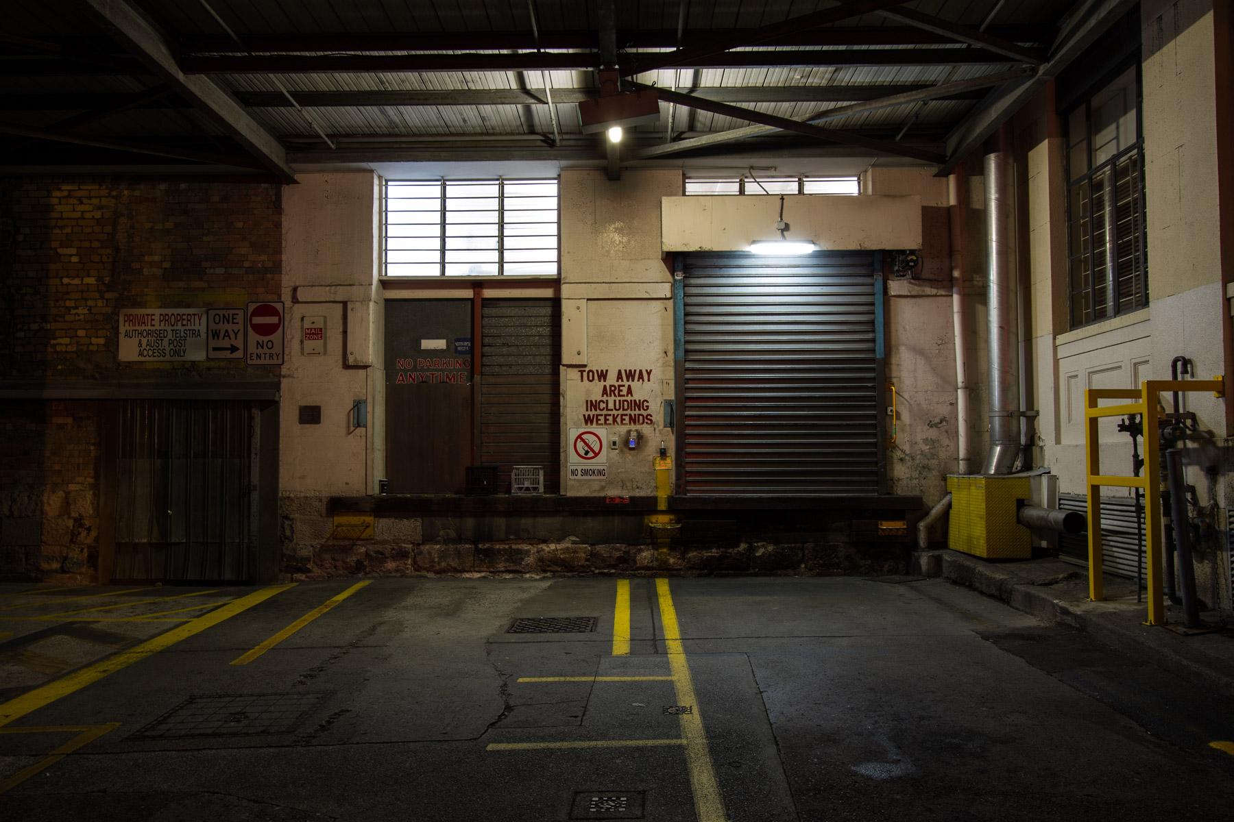 A loading dock in the Brisbane CBD at night