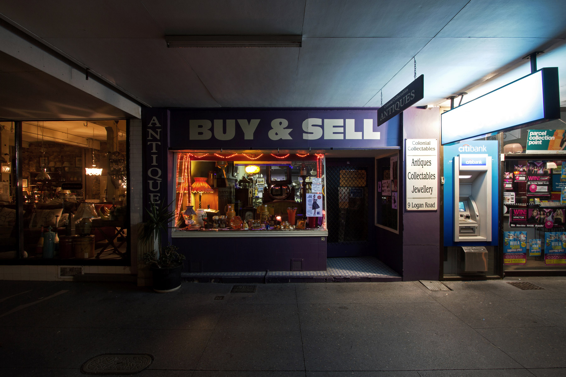 An antique shop at night in Woolloongabba, Brisbane