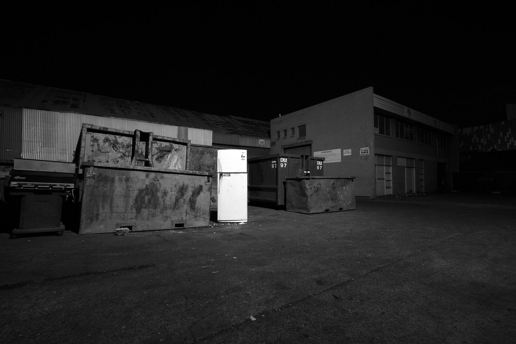 A fridge outside at night in Woolloongabba, Brisbane