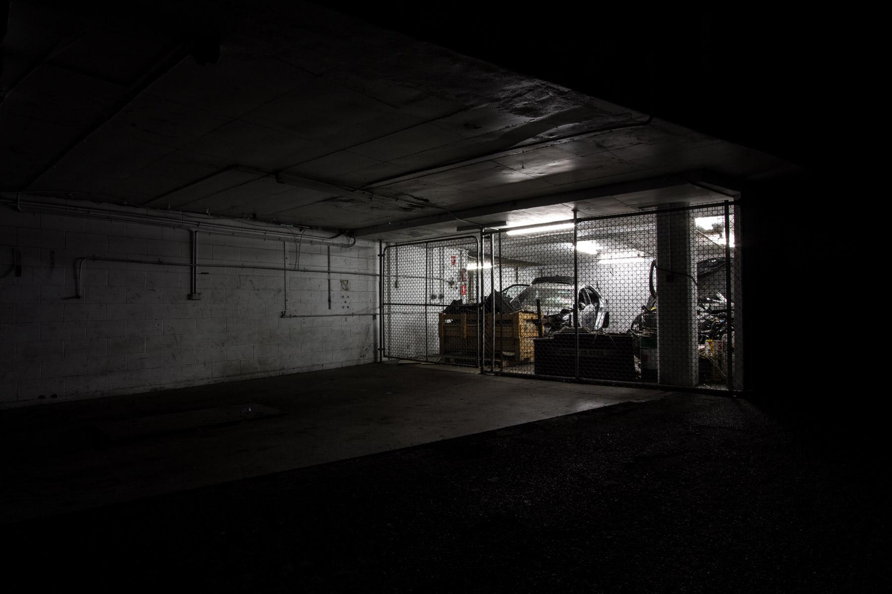 A car in a taxi depot garage at night in Brisbane