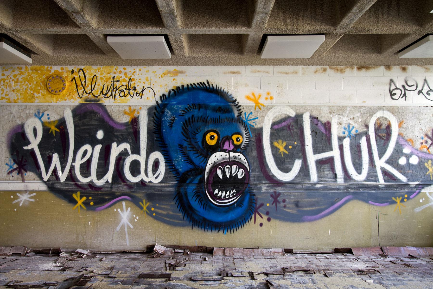 Graffiti in the abandoned College of Art in Morningside, Brisbane