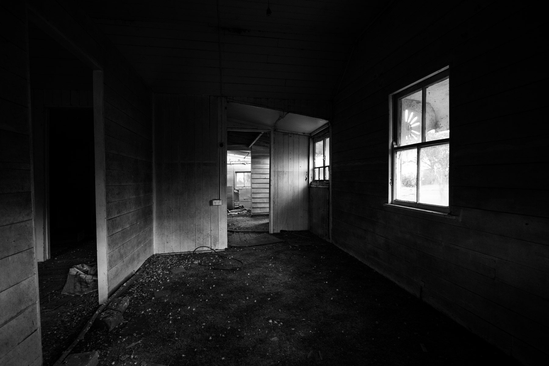 A room inside an abandoned house in Acland, Australia