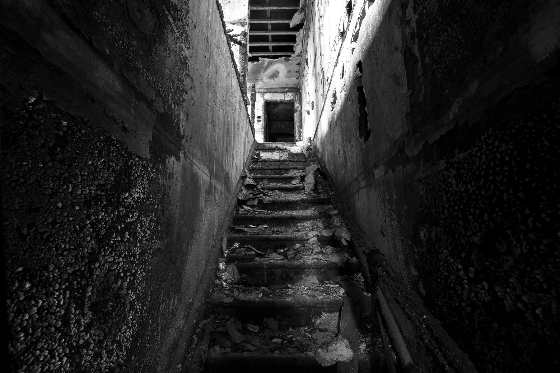The staircase of an abandoned house after a fire in Brisbane