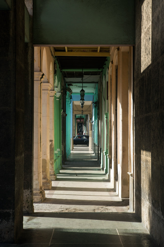 A footpath along Paseo de Marti in Havana, Cuba