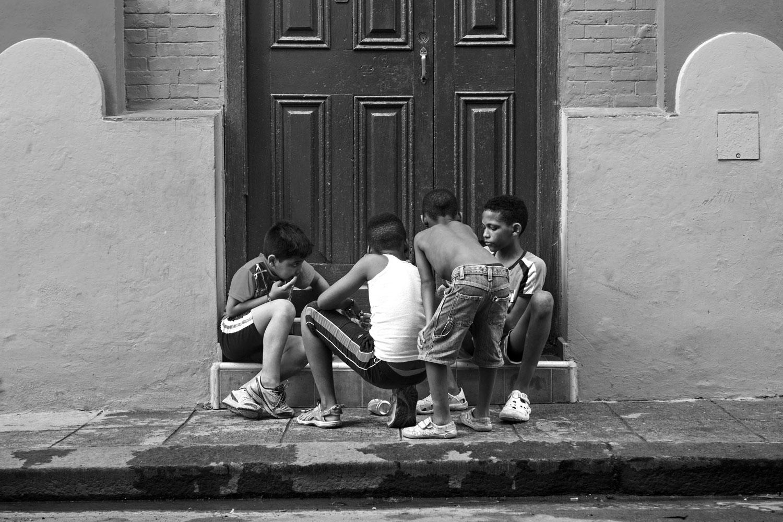 Kids playing on a street in Havana, Cuba