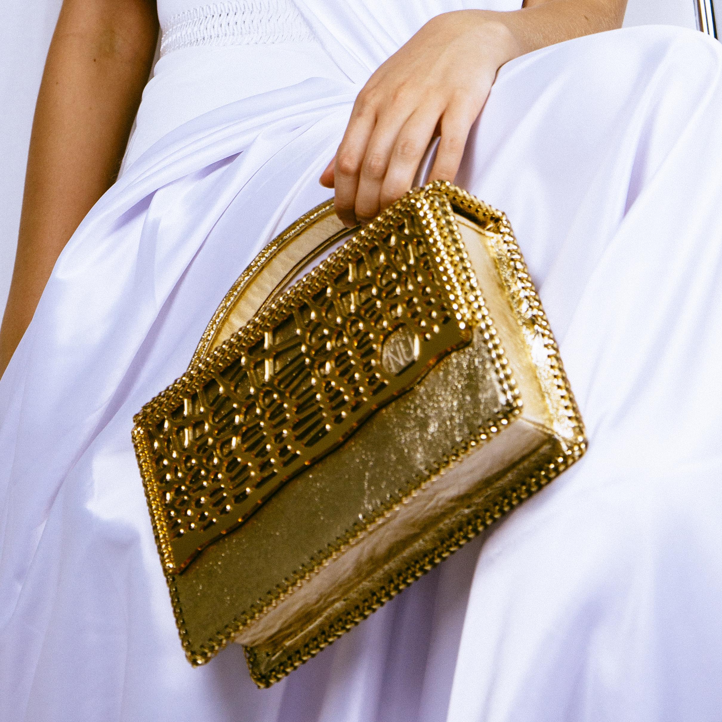 Gold Laced Amoeba Handbag