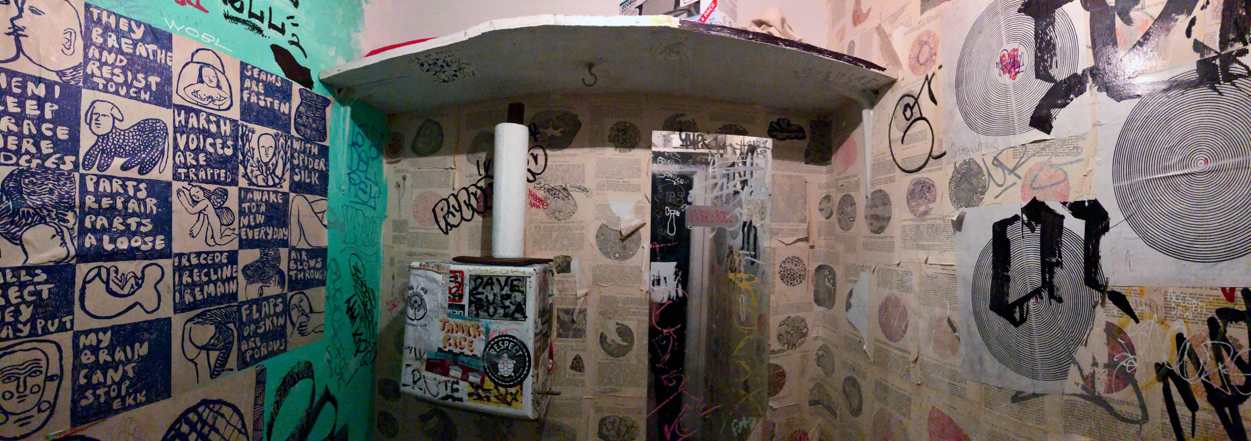 The bathroom at Molasses Books in Bushwick, Brooklyn.
