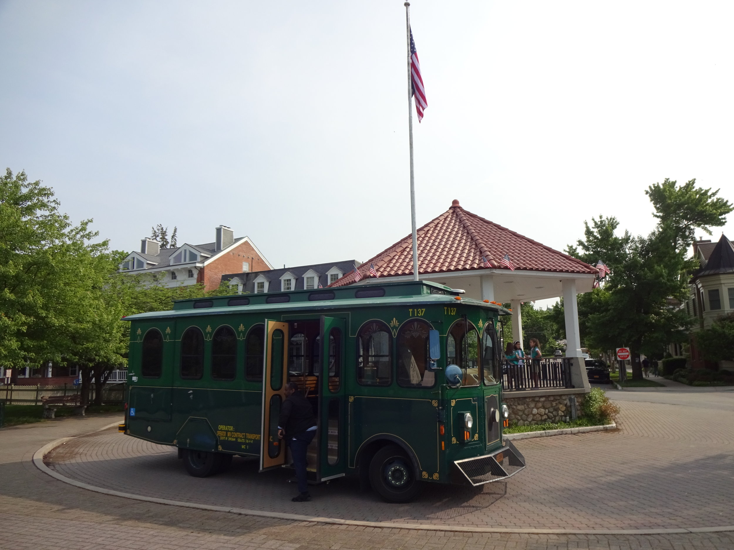 All Aboard! - The Cold Spring Trolley stops and opens it's doors at each stop on the schedule. Anyone with can take a ride for $2.