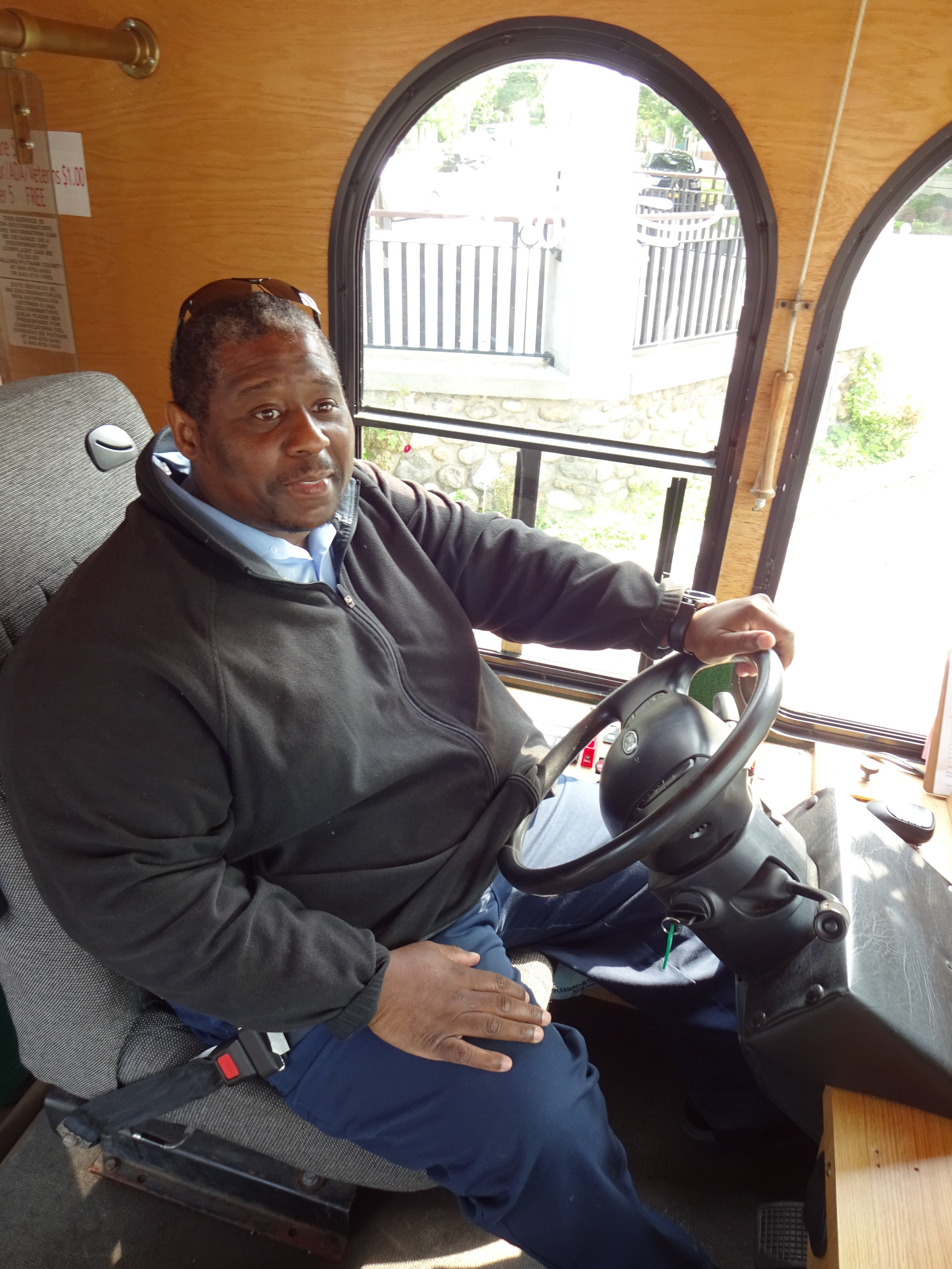 Hi Tim! - Meet Tim, the Trolley Driver. He picks up and drops off riders along the trolley route. He will stop anywhere along the route if a rider pulls the bell cord. Remember to always be kind and courteous to Tim as he drives you around the area.