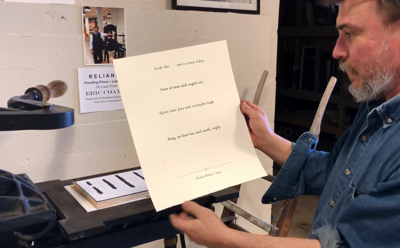 Checking a proof of a recent print - a print for Easter of Charles Wesley's hymn  Christ the Lord is Risen Today .