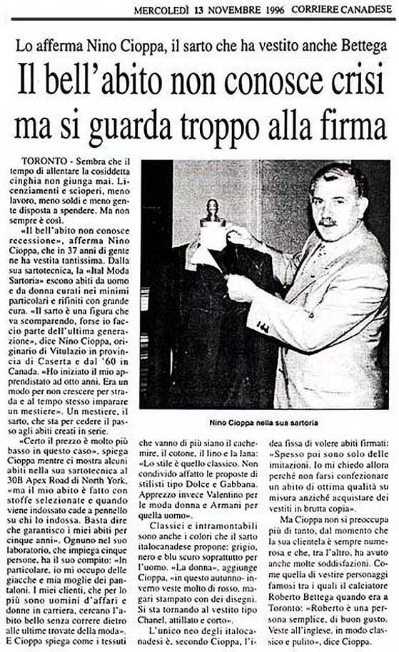 Magazine:  Corriere Canadese  Date:  November 13, 1996