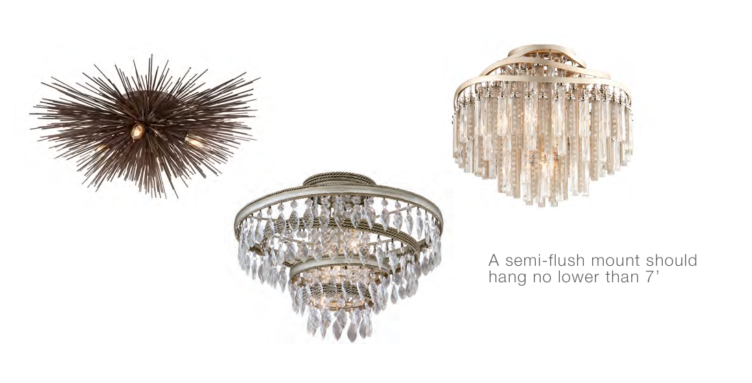 Above left to right: Uni semi-flush mount in tide pool bronze finish (C3664) by Troy Lighting. Diva three light semi-flush mount with faceted crystal drops in silver and gold leaf (132-33) and Chimera four light semi-flush with nickel and crystal tassels, tubular glass in tranquility silver leaf (176-34) by Corbett Lighting. Right: Quinton three light semi-flush in aged brass by Hudson Valley Lighting.