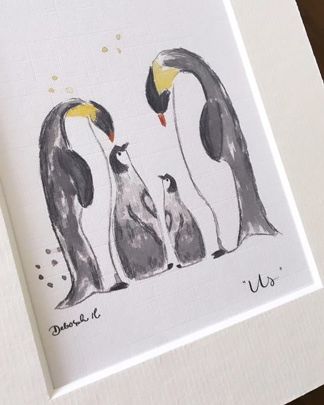 "The ""Us"" artprint remains one of the most popular in the shop 🐧 There is an option of one of two little baby penguins (and I'm working on more 😉)"