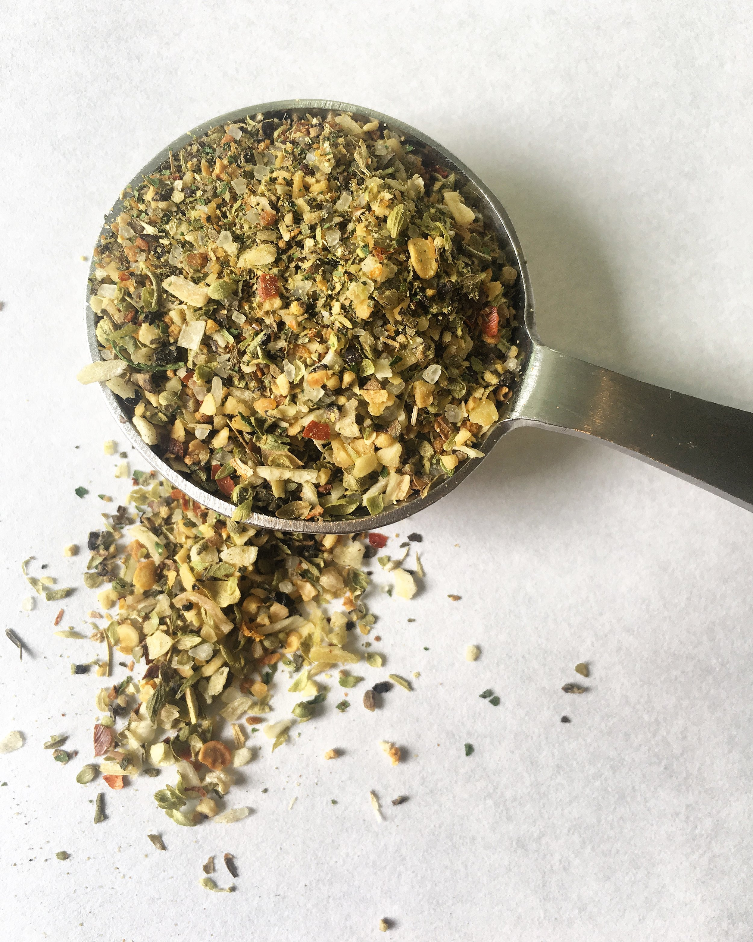 Greek Spice Blend - I'm 100% Greek in ethnicity. So, my go-to spice blend reflects the herbs and spices that I grew up eating in some of my most favorite dishes. I use it on chicken, steak, lamb, shrimp, salmon, turkey, vegetables and everything in between.2 teaspoons dried minced onion2 teaspoons dried minced garlic3 teaspoons dried Greek or Mediterranean oregano¼ teaspoon red chili flake¼ teaspoon dried orange peel1/8 teaspoon cinnamon1 teaspoon kosher or sea salt½ teaspoon freshly-cracked pepperWhisk all ingredients up in a little bowl or jar and season away!