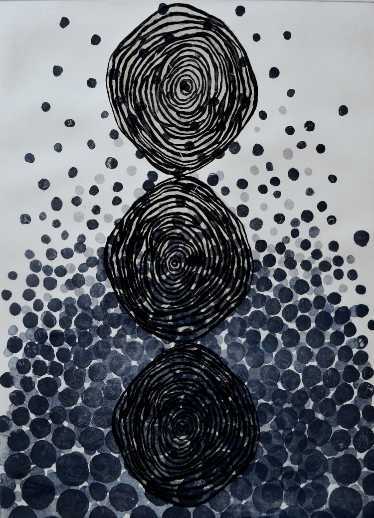 Copy of Shadow Within, circle 2014   etching   18x24