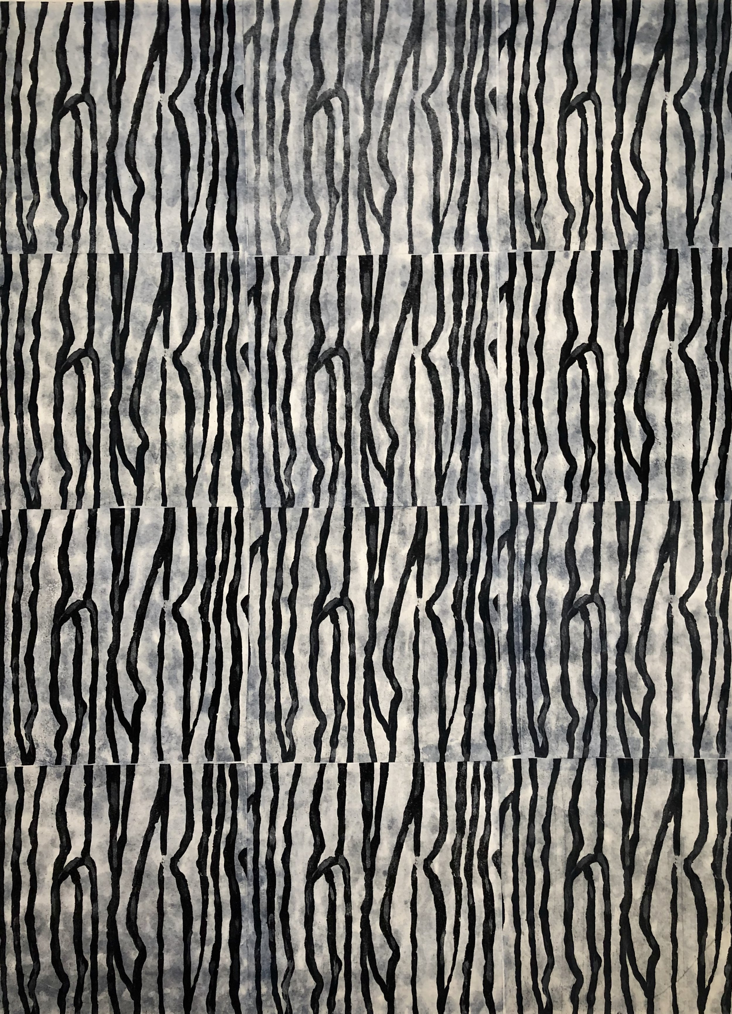 Sashiko 4 2018 | intaglio, thread | 18x24