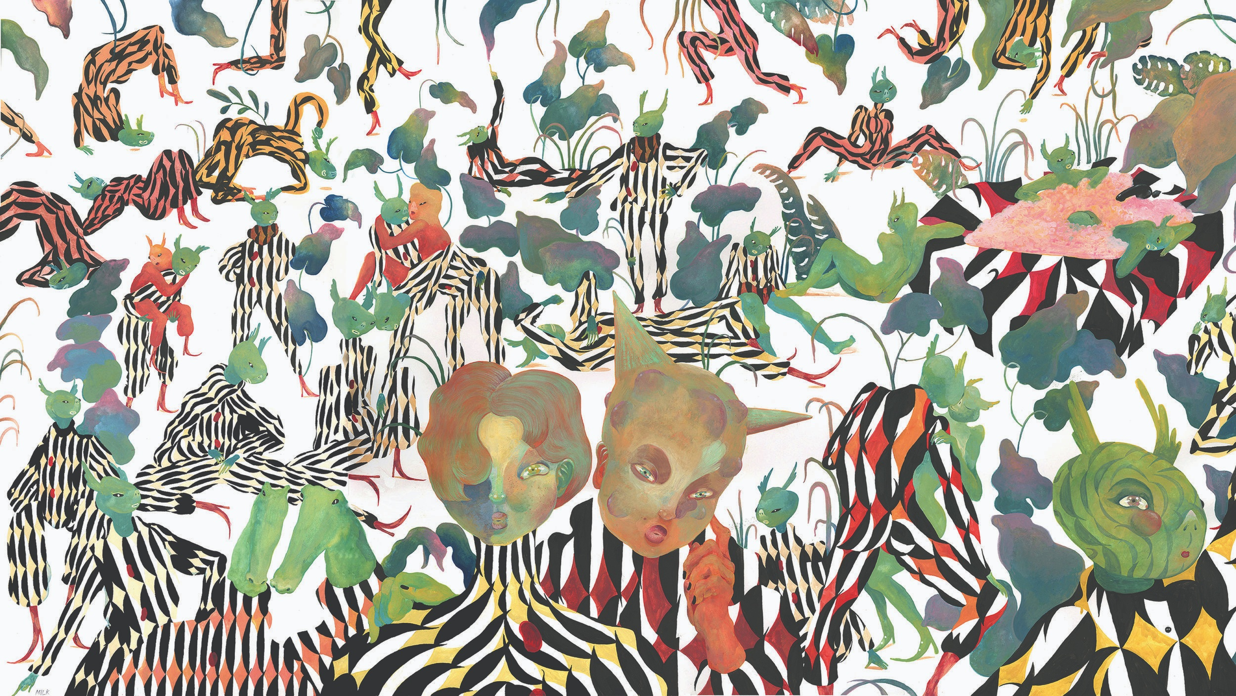 jungle gymnasts, gouache on paper