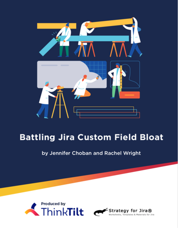 Battling Jira Custom Field Bloat - In another collaboration with Rachel Wright, author of the Jira Strategy Admin Workbook, we've assembled some of those articles into an eBook including chapters such as:- How to Audit Your Custom Fields- What To Do With All Those Custom Fields- Deleting, Hiding & Merging Jira Custom Fields- Reducing Jira Custom Fields Through Substitution- 7 Custom Fields Every Jira Application Needs