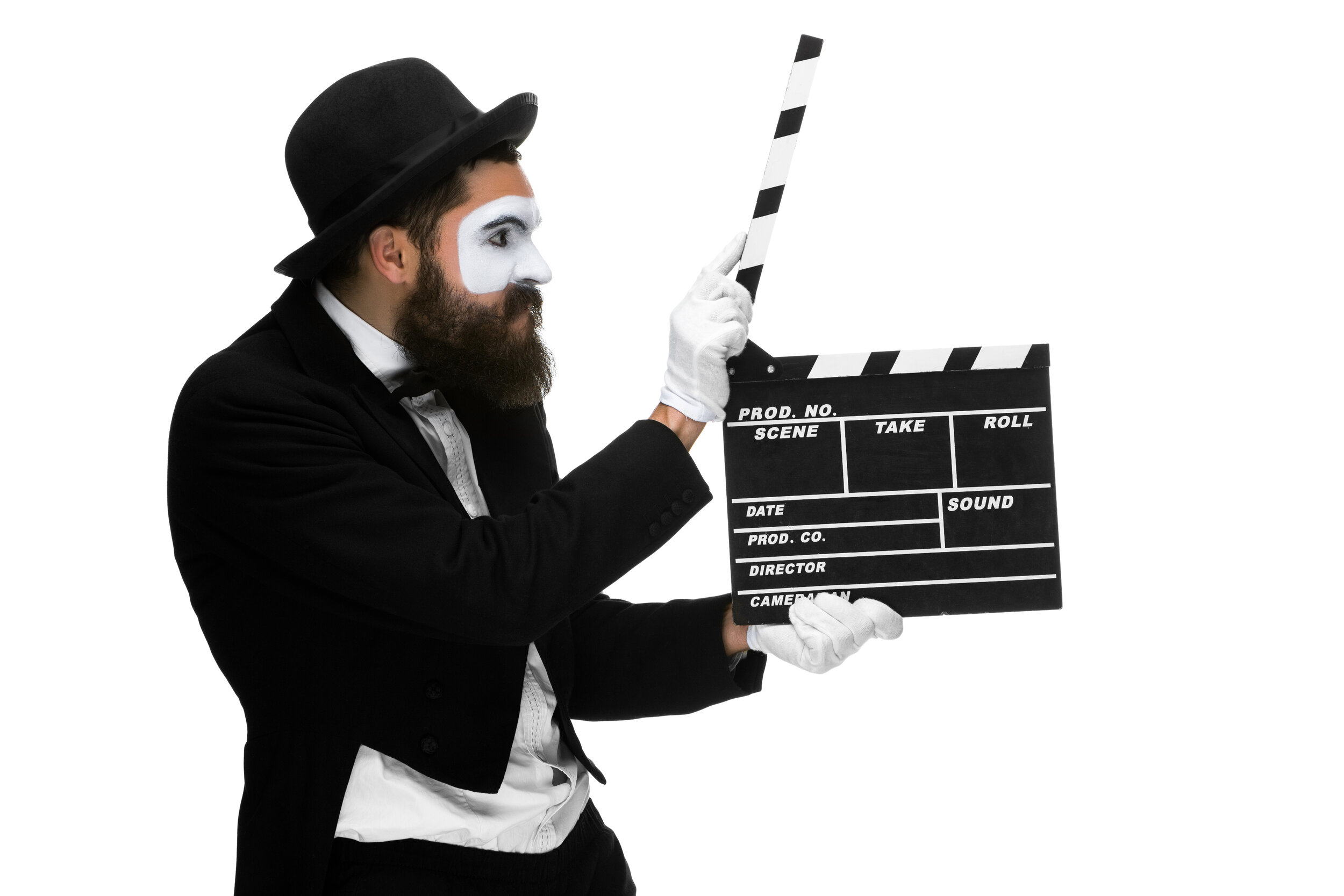 man-in-the-image-mime-with-movie-board-P342HFQ.jpg