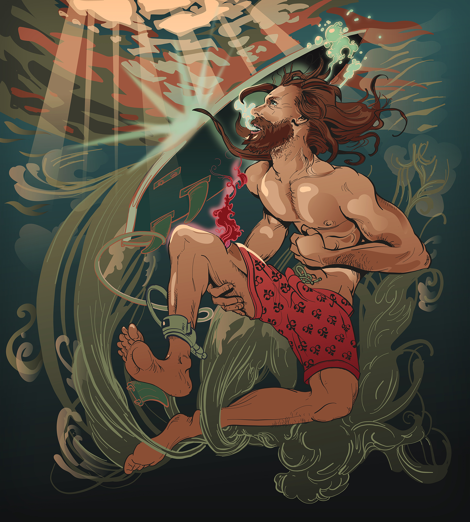 Down and Out Cut Surfer Illustration Josh Hunter