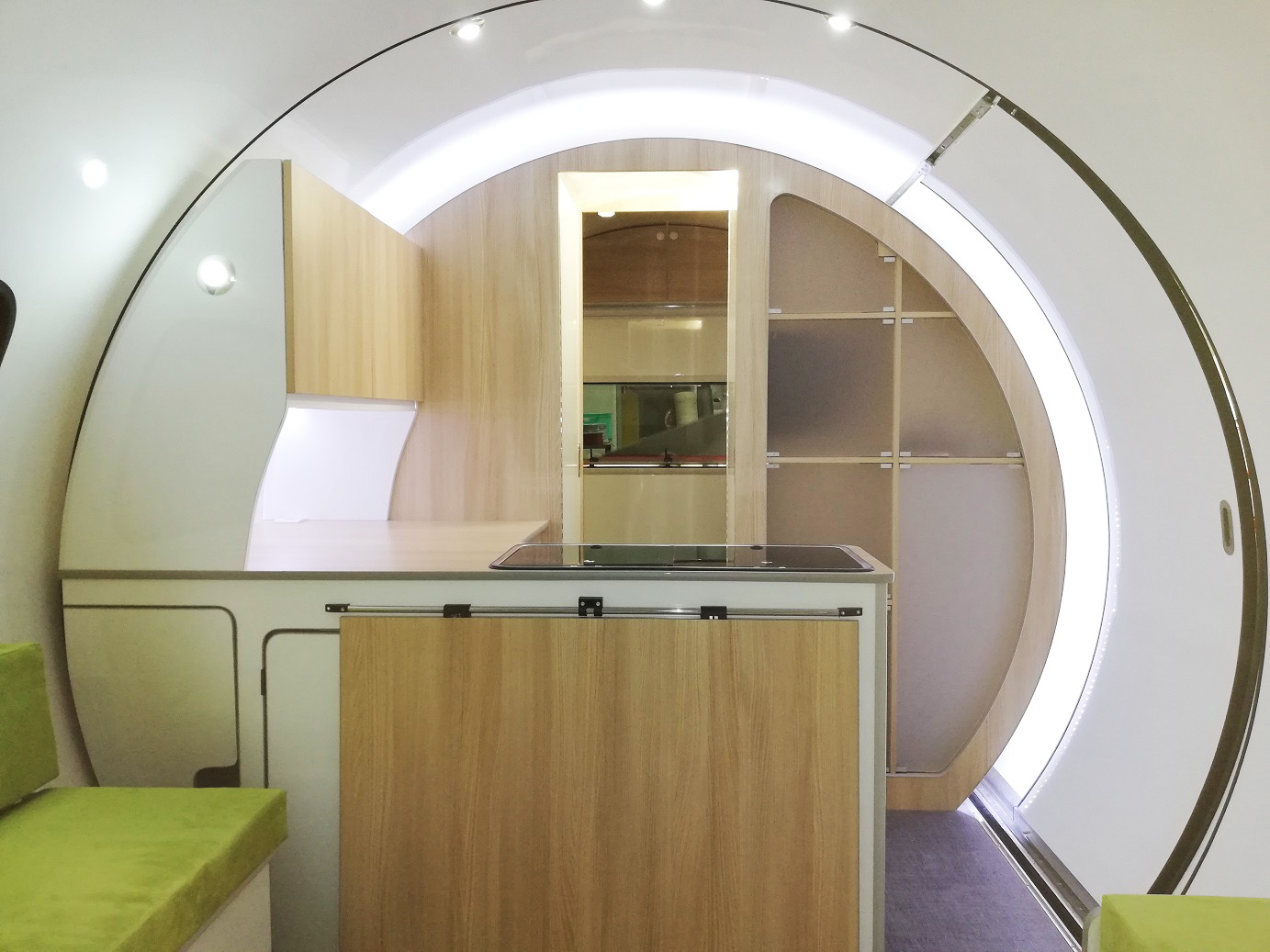 3X kitchen - white interior, wood cupboards, clear acrylic storage pods,green sofa