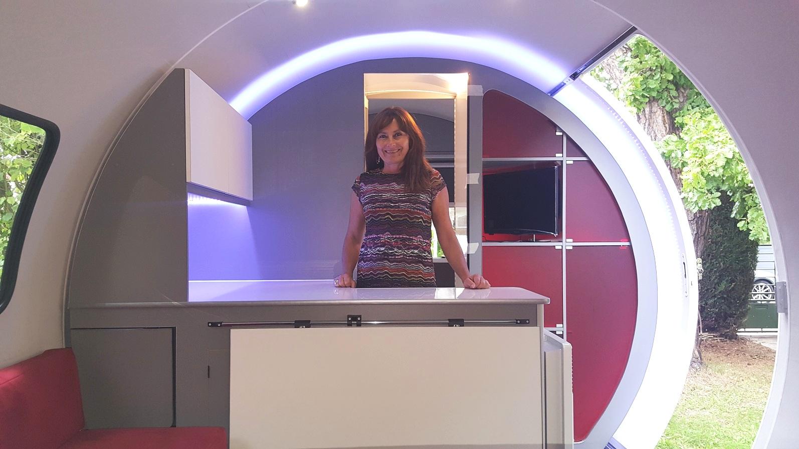 3X kitchen - grey interior, white cupboards, red acrylic storage pods