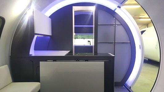 3X kitchen - grey interior, white cupboards, white acrylic storage pods