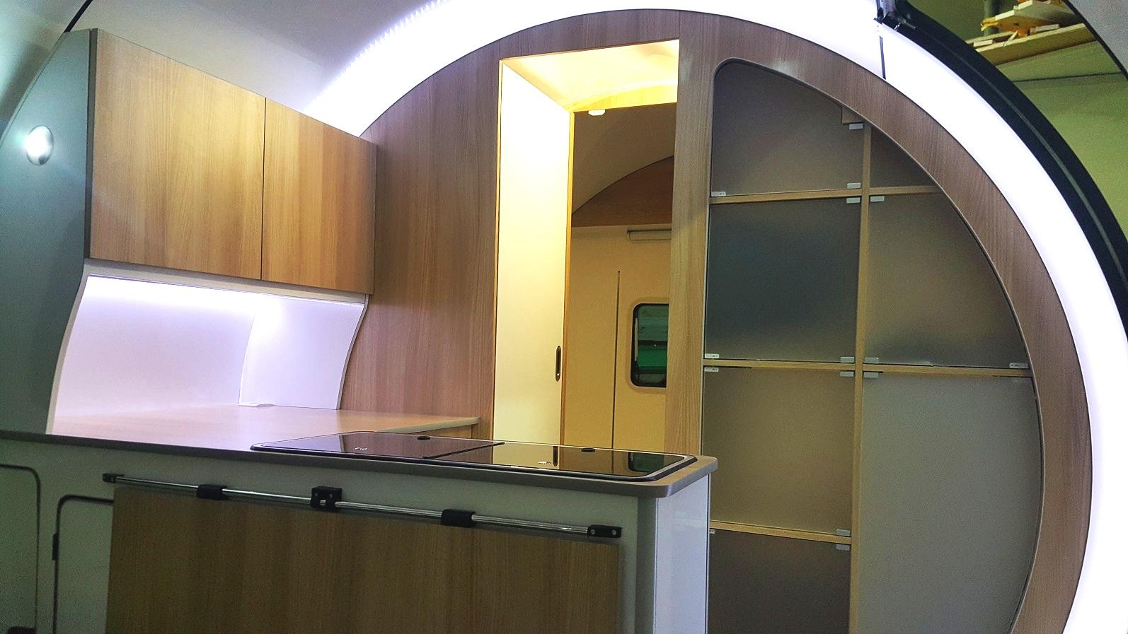 3X kitchen - white interior, wood cupboards, clear acrylic storage pods