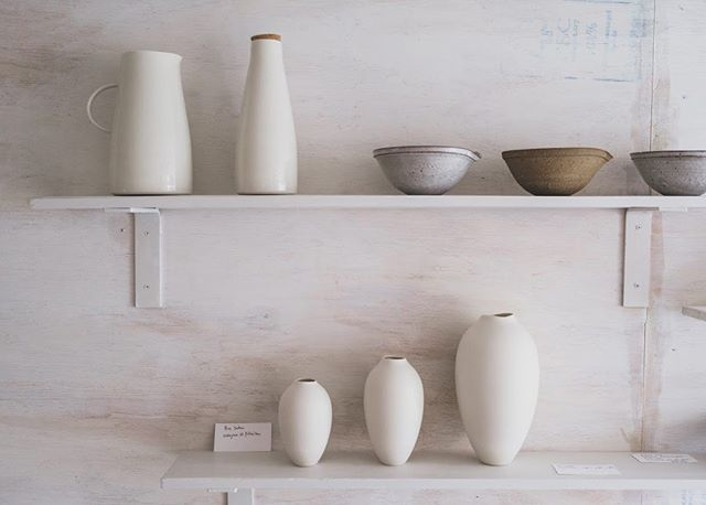The shop is open today from 12-6.  Porcelain jugs and vases from @pottedben, bowls from @throwing_pots