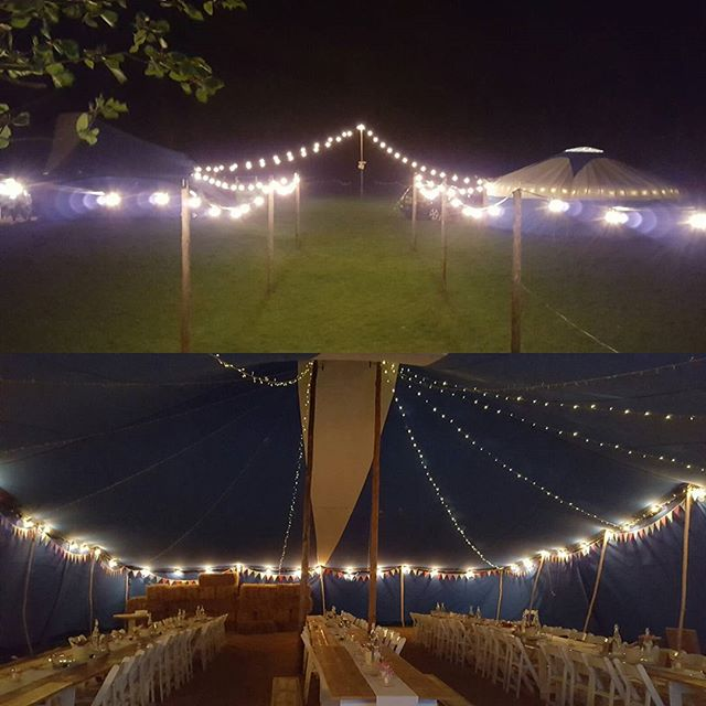 New festoon and twinkly ceiling lighting.  Supplied to marquee wedding at Leigh & Bransford Village Hall