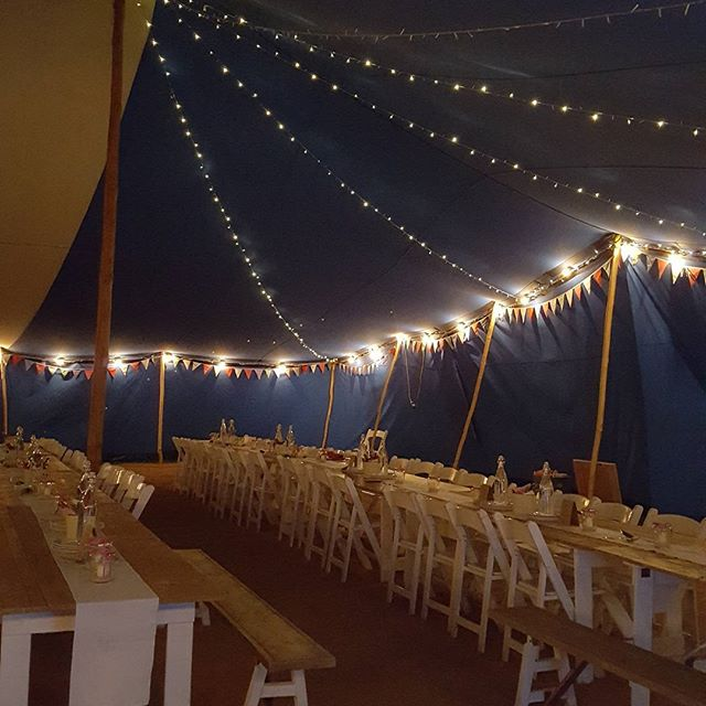 New festoon lighting.  Supplied to marquee wedding at Leigh & Bransford Village Hall